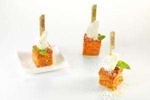 a special finger food: eggplant parmigiana. The Peck proposal for a new banqueting dimension